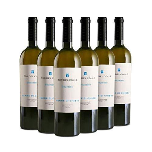 TOR DEL COLLE Pecorino Terre di Chieti IGT, Vino Bianco, si Abbina Bene a Tutti i Piatti a Base di Pesce, Carni Bianche e Zuppe, 6 x 750 ml, Made in Italy, 13% Vol