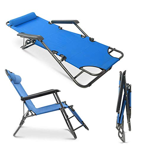 Patio Lounge Chair, Portable Folding Outdoor Patio Lounge Chairs Sun Pool Lawn Chaise with Pillow for Outdoor Camping Patio Lawn Beach (Blue)