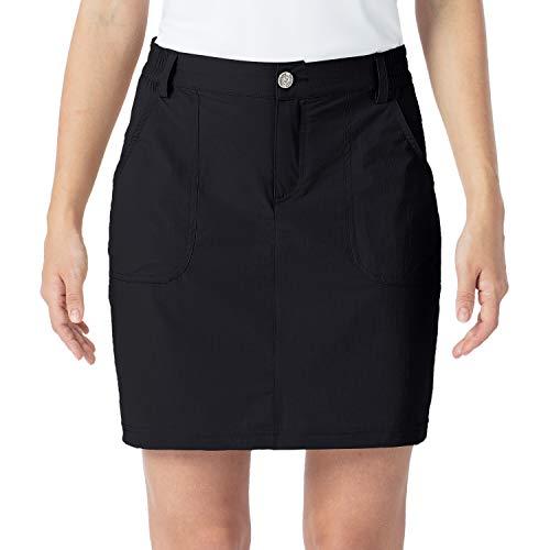 NAVISKIN Damen Rock Sonnenschutz Hosenrock stylisch Skort schnelltrocknend Golfrock weich eingebaute Innenhose Schwarz Größe L