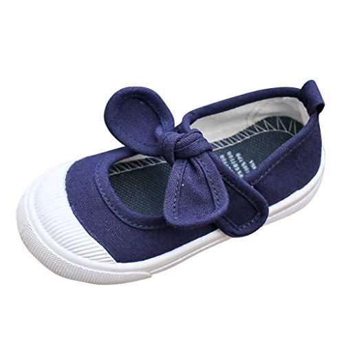 DAY8 Chaussures Fille Pas Cher Toile Automne Chaussure Princesse Mariage Chaussure Enfant Fille Caoutchouc Antiderapante Chaussure Fille Ado Bateau Simples Casual Printemps (31 EU, Bleu Marine)