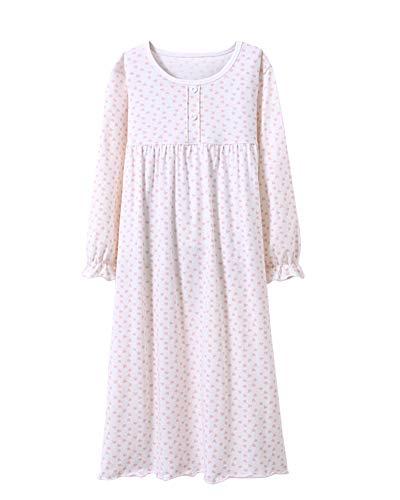 DianShaoA Kinder Schlafanzüge Prinzessin Nachthemd Für Mädchen Langarm Tupfen Drucken 3-12 Jahre Weiß 110