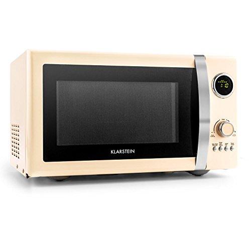 Klarstein Fine Dinesty - magnetron, magnetron met grill, retro, metalen behuizing, 23 l kookruimte, 800 W magnetronvermogen, 1000 W grillvermogen, timer, 12 programma's, LCD-display, crème