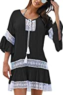 3/4 Sleeve Chiffon Beach Cover Up Tassel Hemline,Casual Loose Style,Tunic Length, Loose Fit Soft material,good touching to your skin,a comfortable top for this summer Women's short sleeve beach bathing suit cover up,beautiful design on the two sides,...