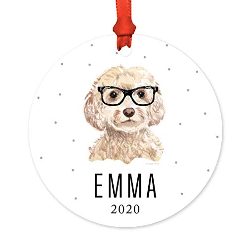 Andaz Press Personalized Preppy Dog Art Round Metal Christmas Ornament, Champagne Cockapoo in Black Glasses 2020, 1-Pack, Custom Birthday Ideas for Him Her Dog Lover, Includes Ribbon, Gift Bag
