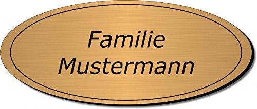 Gravierte Folie Türschild, Klingelschild, Namensschild, Briefkastenschild, Pokalschild nur 0,1 mm dick, Typ:Messing 401-05 - 120x50 mm
