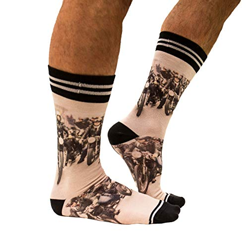 sockmyfeet - Lustige Socken Herren 43-47 Bunt, Motorrad Socken, einzigartige bunte Socken mit anspruchsvollen Fotos, gedruckt auf hochwertiger ägyptischer Baumwolle, Funny Socks zum Unterscheiden
