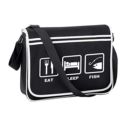 Ice-Tees Eat Sleep Fish - Angeln, Angeln, Hobby, Sport - Herren Retro Messenger Bag, Schwarz - Schwarz - Größe: Einheitsgröße