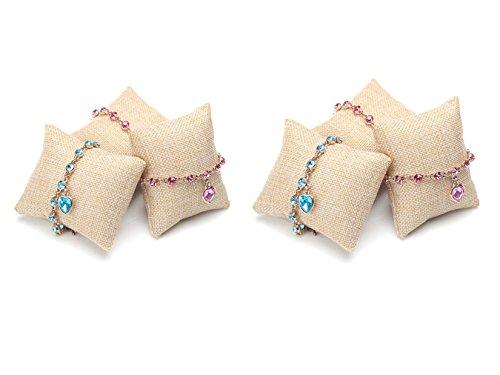 JUMUU 6-Pieces Small Linen Bracelet Watch Pillow Jewelry Displays 3.2'x3.2'x1.5'