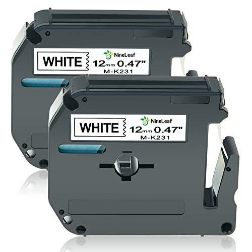 NineLeaf 2 Pack Compatible for Brother M231 MK231 M-K231 M-K231S M Label Tape 1/2'' 12mm 0.47 Inch x 26.2ft 8m Black on White Labeling Refills Work with P Touch PT-70BM PT-M95 PT-90 PT-70 Label Maker