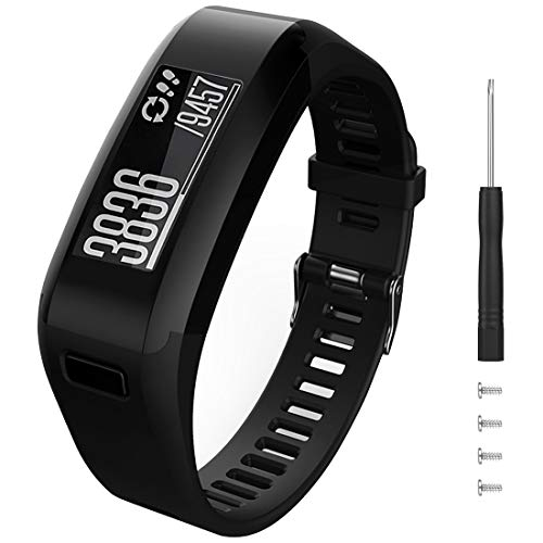 Eway for Garmin Vivosmart HR Replacement Bands,Soft Silicone Replacement Band for Garmin Vivosmart HR Watch (Black, Large)