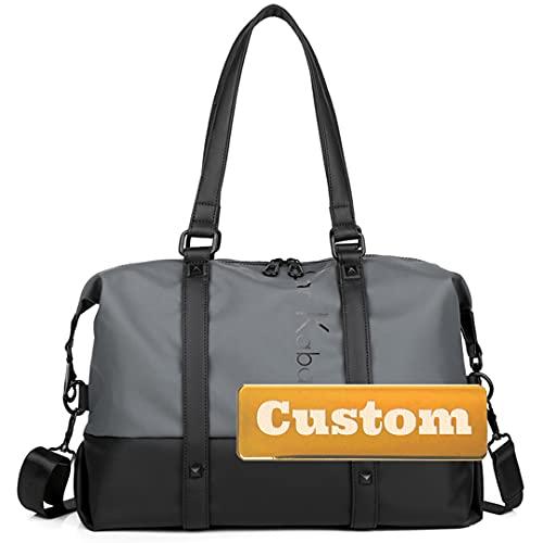 Nome personalizzato Viaggi per uomo Nylon Pieghevole Borsone Borsone Impermeabile Weekend Duffle (Color : Grey, Size : One size)