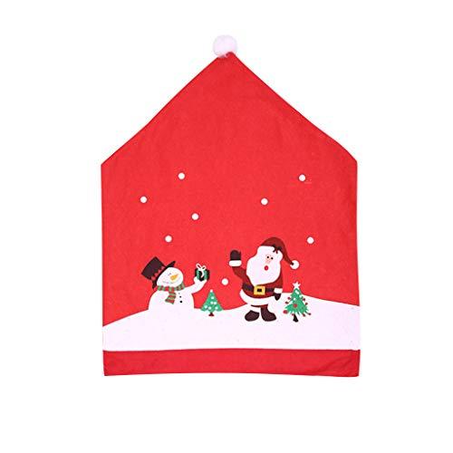 MRULIC Weihnachtliche Stuhlhussen Nikolaus Snowman Schneeflocken Moderne Stuhl Hussen Set Abnehmbare Dekoration Stuhlabdeckung FüR Esszimmer Party Hotel Restaurant Deko Weihnachten Dekorative(A1)