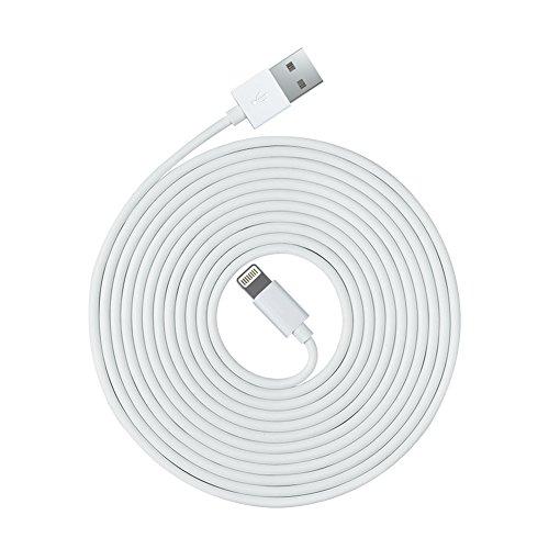 OPSO [Apple MFi zertifiziert] 3 m Lightning 8-Pin auf USB Ladekabel/Kabel für iPhone 7 6S 6 Plus SE 5S 5C 5, iPad Pro Air 2, iPad Mini 4 3 2, iPod Touch Nano – Weiß