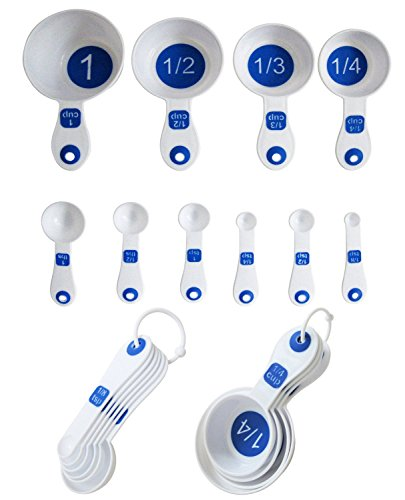 Chef Craft Set of 10 Piece Spoons and Measuring Cups (White & Blue), Silver