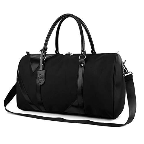 Bolsa de deporte de nailon, bolsa de viaje de fin de semana, mini gimnasio, Travel Duffel para mujeres y hombres, con compartimento para zapatos separado, color negro