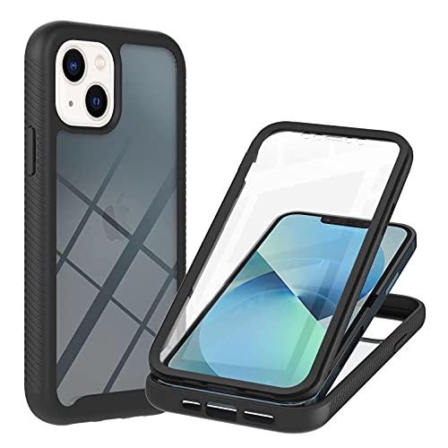 Molg Compatible con Funda iPhone 13 Mini Incorporado Pet Screen Protector Transparent Back Shell 360 ° de Cuerpo Entero Anti-Scratch Anti-Shock Shell-Negro