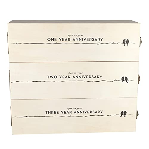 Twine Wedding and anniversary gift wooden wine box three year celebration 3 bottle holder with lids...