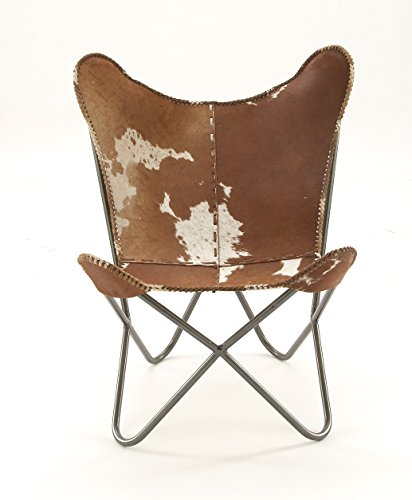 Deco 79 Metal Real Leather Hair Chair, 30' x 36', Multicolor
