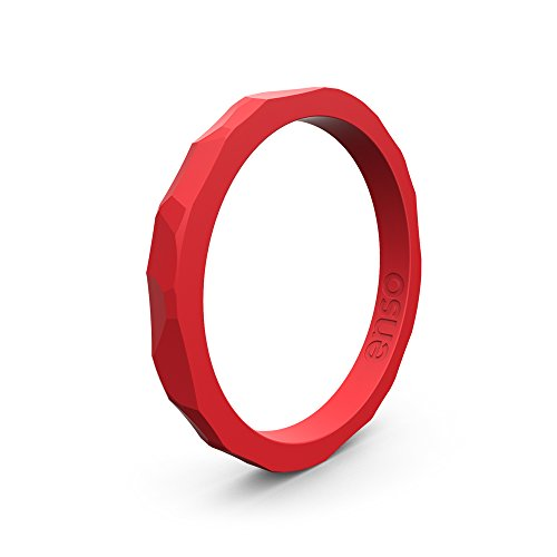 Enso Silicone Ring/Wedding Band. Hammered Design for Men and Women Color: Red. Size: 9