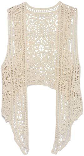Chaleco de Verano para Mujer, Estilo Bohemio, Encaje, Crochet, sin Mangas