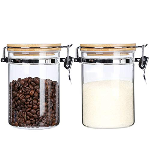 KKC 密封ビン 密閉 コーヒー豆保存容器 ガラス保存瓶 珈琲豆 保存容器 キャニスター コーヒーまめ 豆 珈琲 保存容器 密封びん 密閉容器 密封容器 コーヒー豆 800ML 2個セット