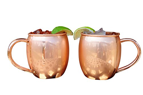 Alchemade Copper Barrel Mug for Moscow Mules - 16 oz - 100% pure copper (Pack of 2)