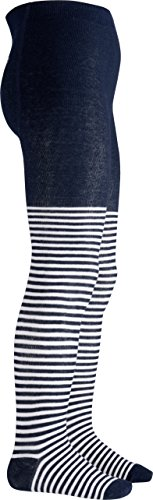 Playshoes Mädchen Ringel Wal Strumpfhose, Blau (Marine/weiß 171), 98 (Herstellergröße: 98/104)