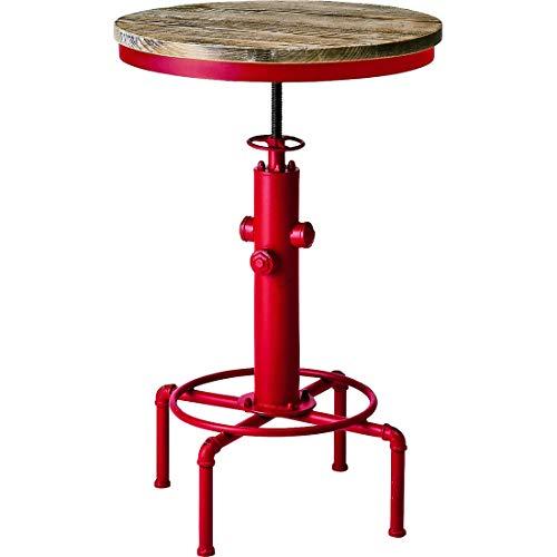 宮武製作所 バーテーブル INDUSTRIAL 幅60×奥行き60×高さ83~100cm レッド 天然木ヴィンテージ天板 KNT-A801RD