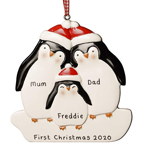 Personalised Christmas Decoration Penguin Family of 3 My 1st Xmas Baby Gift Ornament Keepsake