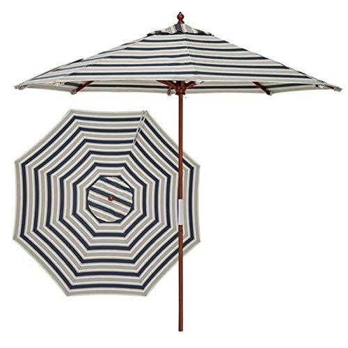 LXLA Sombrilla Jardin Parasol de Rayas de Sombrilla de Playa de 9 Pies, Sombrilla para Exteriores con Poste y Varillas de Madera, Protección Portátil UV 50+, para Patio Piscina Plataforma Césped