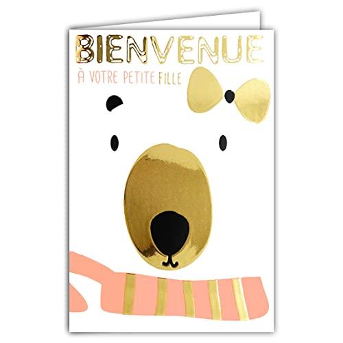 Tarjeta de bienvenida a tu hija, nacimiento, bautizo o adopción, oso de peluche polar, blanco, rosa, nudo dorado y tendedero bonito, fabricada en Francia