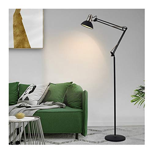 Floor Lamp American Living Room Folding Staande Lamp Slaapkamer regelbare verlichting Lamp Sofa Side en bed LED leeslamp (Color : Black, Size : 28cm*166cm)