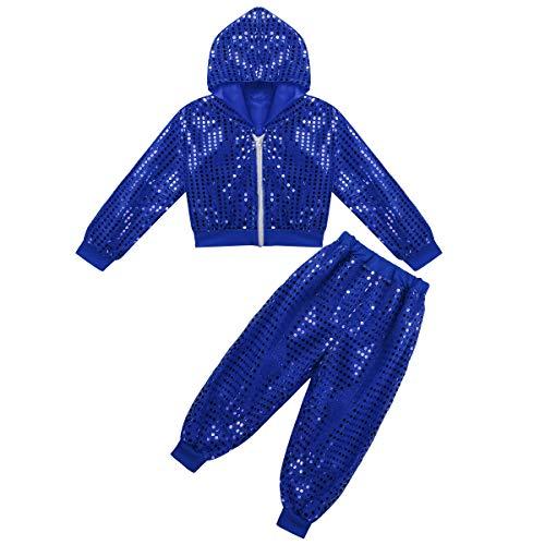 Agoky Kinder Sportanzug Glänzend Trainingsanzug für Jungen Mädchen Tanz Sport Bekleidung Fasching Karneval Kostüm Party Outfits Blau 122-128