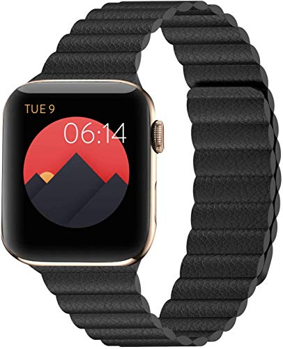 Danwon Compatible with Apple Watch Leather Link Band 40mm/38mm,44mm/42mm Series 6, Strong Magnetic Adjustable Leather Strap with Flexible Molded Magnets for iWatch Series SE 5/4/3/2/1 (38mm/40mm, Black)