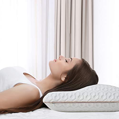 BedStory Almohada Cervical para Dormir Almohada Viscoelastica Gel 60x40cm Almohadas Cervicales en Forma Ergonomica con Funda Desmontable y Lavable Reduce Dolores Adecuada para Todas Posicións