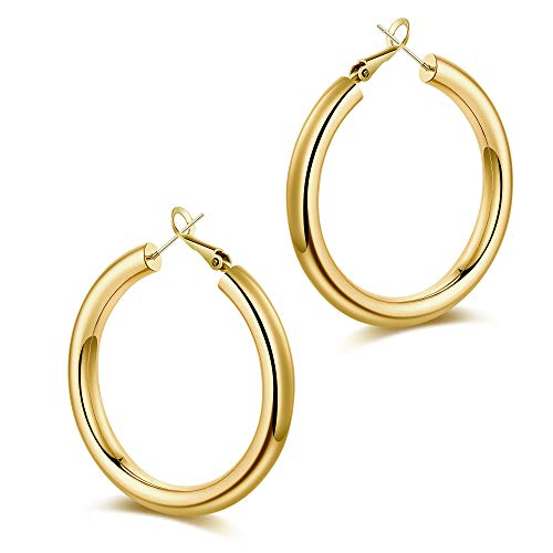 Chunky Gold Hoop Earrings for Women, S925 Sterling Silver Post 14K Gold Plated Thick Tube Lightweight 50mm Hoops Earrings