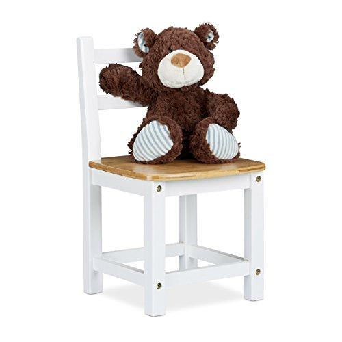 Relaxdays Kinderstuhl RUSTICO aus Bambus, Für Jungen und Mädchen, Kinderzimmer Stuhl, HBT: ca. 50 x 28,5 x 28 cm, weiß / natur