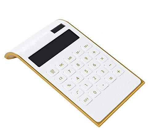 Calculadora de 10 dígitos Calculadora de escritorio comercial estándar, Calculadora solar y con pilas para aprendizaje/oficina (Blanco)