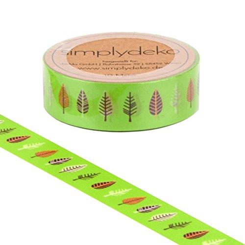 Simplydeko Washi Tape | Masking Tape mit Tieren & Blumen | Wundervolles Washitape Bastel-Klebeband aus Reispapier | Deko-Tape | Motiv-Klebeband | Pflanzen Bäume