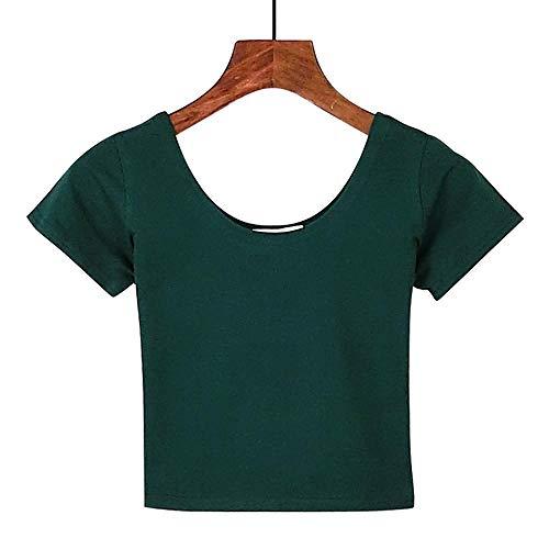 Camiseta de Verano para Mujer, Manga Corta, Cuello Redondo, Camisetas de algodón Casual, Camisetas para Mujer, Top Corto