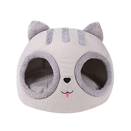Aiong Cama para Mascotas, Cama para Gatos extraíble, cálida casa para Gatos, Cueva, Invierno, Gatito, cojín para Perros, Alfombrilla para Gatos con Forma de Cabeza de Gato