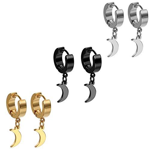 Flongo Pendientes de Luna, Hombre mujer pendientes de aro acero inoxidable, Pendientes de Hip Hop diseño original 3 pares