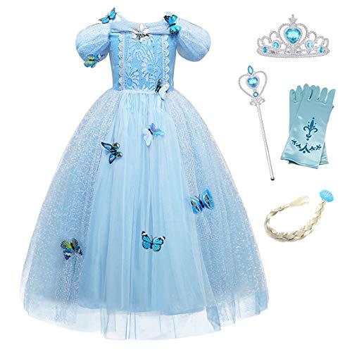 Monissy Costume Reine des Neiges Princesse Elsa Robe Bleu Dentelle Manche Longue Tulle Brillant Papillon Diadème Perruque Gant Baguette Déguisement Halloween Anniversaire