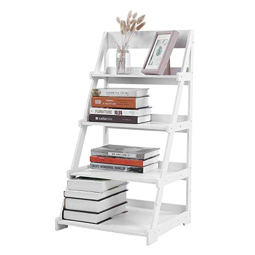 Ladder Shelf,4-Tier Wooden Plastic BookRack Storage Shelving Unit A-Frame Bookcase Display Wall Rack Storage Free Standing Plant Stand Flower Dish Rack Balcony White,44 x 43 x 85