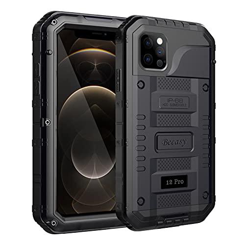 Beeasy Funda para iPhone 12 Pro Impermeable,Antigolpes con Protector de Pantalla,360°Protección Rígida Robusta Antigravedad Carcasa Resistente al Impacto Militar Duradera Blindada Fuerte, Negro