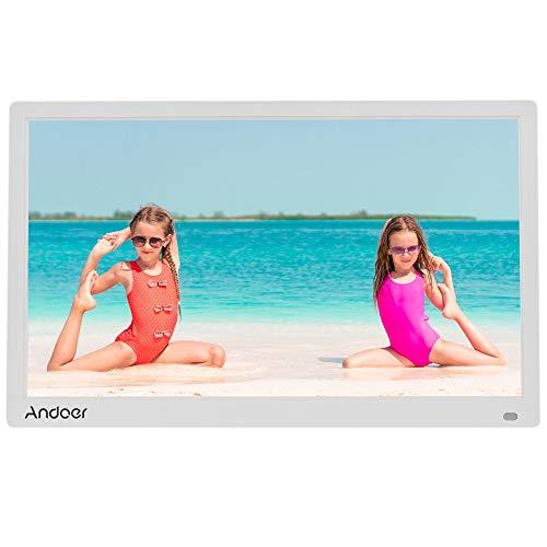 Andoer Digitale fotolijst, 17 inch, LED fotoalbum, 1080p 1440 x 900 HD, met handtekeningen van MP3, MP4, kalender, touch-toetsen en afstandsbediening, kerst- en verjaardagscadeau
