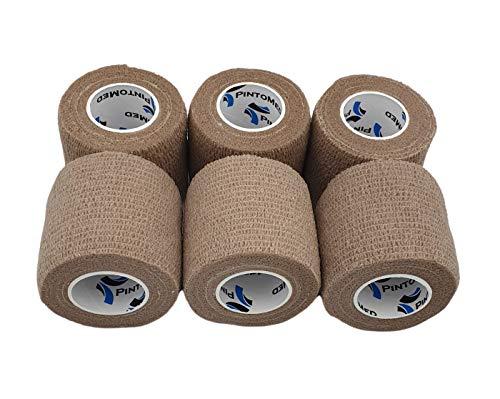 Venda Cohesiva Color DE Piel 6 Rollos x 5 cm x 4,5 m Autoadhesivo Flexible Vendaje, Calidad Profesional, Primeros Auxilios, Lesiones de los Deportes, Rodillos embalados Individualmente - Pack