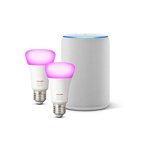 Amazon Echo (3ª gen.), Tessuto grigio chiaro + Lampadine intelligenti a LED Philips Hue White & Color Ambiance, confezione da 2 lampadine, compatibili con Bluetooth e Zigbee (non è necessario un hub)