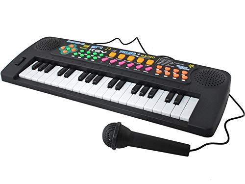 ISO TRADE Elektronisches Kinder Keyboard + Mikrofon Radio 37 Tasten Melodien Töne Batteriebetrieben 6722