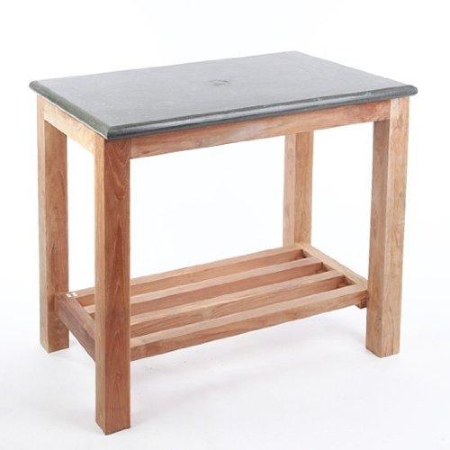 wohnfreuden Waschtisch Untergestell Unterschrank Teak-Holz + Platte Naturstein 80 cm